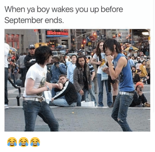Memes, Boy, and 🤖: When ya boy wakes you up before  September ends  or 😂😂😂
