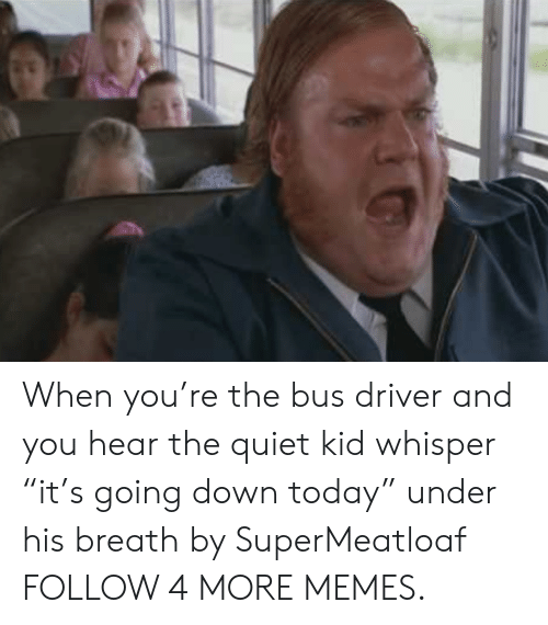 "Quiet Kid: When you're the bus driver and you hear the quiet kid whisper ""it's going down today"" under his breath by SuperMeatloaf FOLLOW 4 MORE MEMES."
