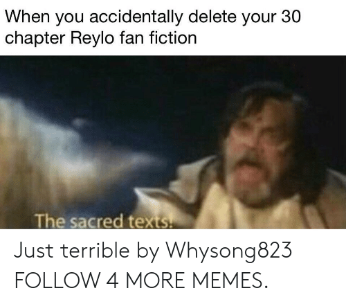 fan fiction: When you accidentally delete your 30  chapter Reylo fan fiction  The sacred texts Just terrible by Whysong823 FOLLOW 4 MORE MEMES.