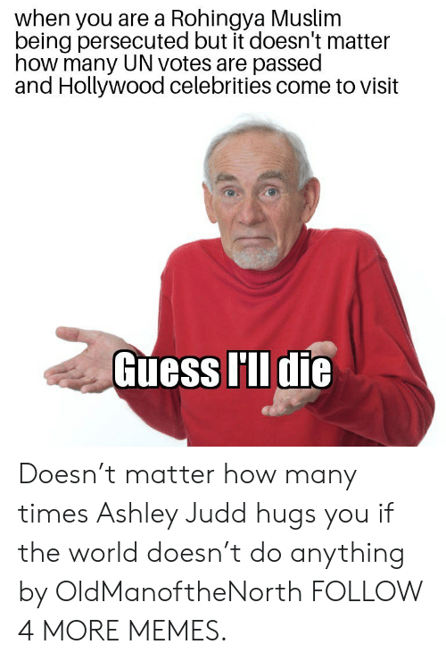 Dank, How Many Times, and Memes: when you are a Rohingya Muslim  being persecuted but it doesn't matter  how many UN votes are passed  and Hollywood celebrities come to visit  Guess I'll die Doesn't matter how many times Ashley Judd hugs you if the world doesn't do anything by OldManoftheNorth FOLLOW 4 MORE MEMES.