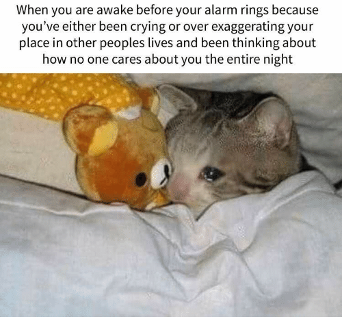 Crying, Alarm, and Been: When you are awake before your alarm rings because  you've either been crying or over exaggerating your  place in other peoples lives and been thinking about  how no one cares about you the entire night