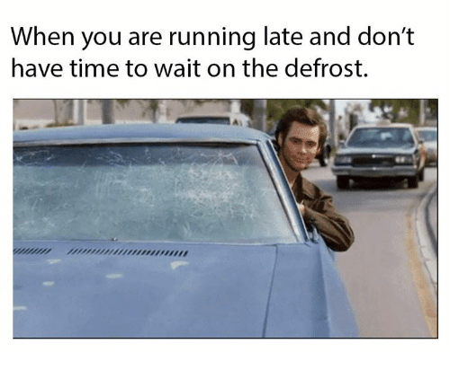 Running Late: When you are running late and don't  have time to wait on the defrost.