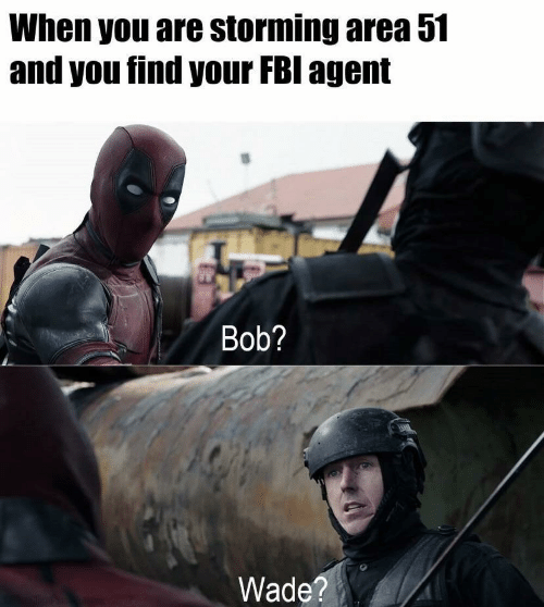 storming: When you are storming area 51  and you find your FBI agent  Bob?  Wade?