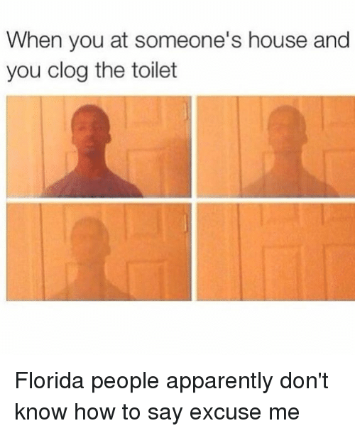clogs: When you at someone's house and  you clog the toilet Florida people apparently don't know how to say excuse me
