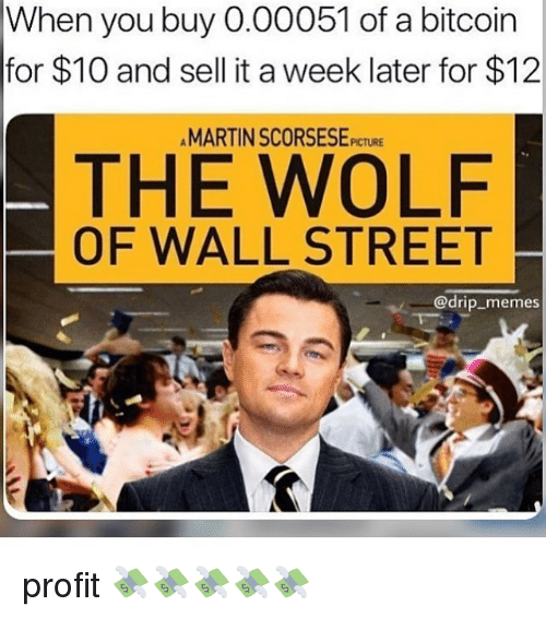 Martin, Memes, and The Wolf of Wall Street: When you buy 0.00051 of a bitcoin  for $10 and sell it a week later for $12  MARTIN SCORSESE PICTURE  THE WOLF  OF WALL STREET  @drip_memes profit 💸💸💸💸💸