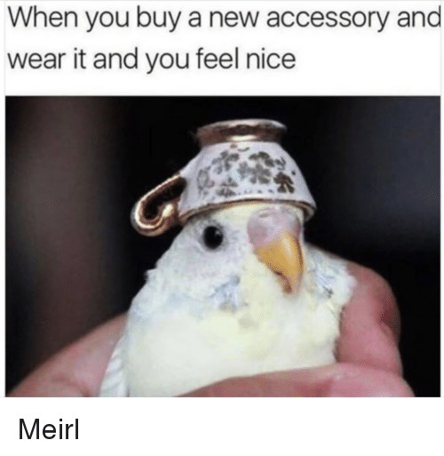 MeIRL, Nice, and New: When you buy a new accessory and  wear it and you feel nice Meirl