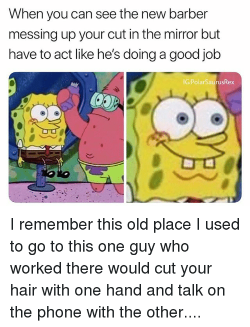 Barber, Memes, and Phone: When you can see the new barber  messing up your cut in the mirror but  have to act like he's doing a good job  IG:PolarSaurusRex I remember this old place I used to go to this one guy who worked there would cut your hair with one hand and talk on the phone with the other....