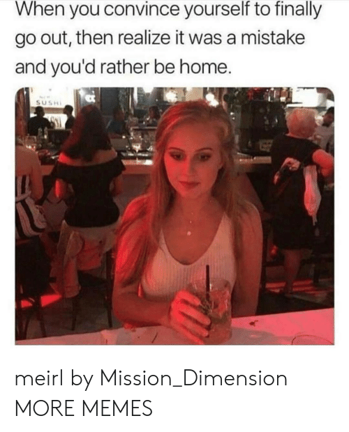 Dank, Memes, and Target: When you convince yourself to finally  go out, then realize it was a mistake  and you'd rather be home  SUSH meirl by Mission_Dimension MORE MEMES