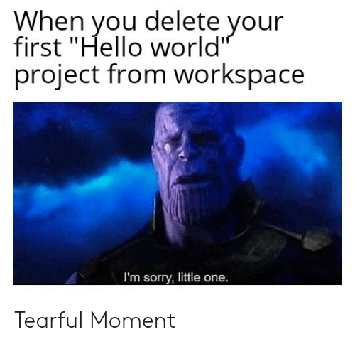 """Hello, Sorry, and World: When you delete your  first """"Hello world  project from workspace  I'm sorry, little one. Tearful Moment"""