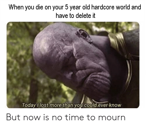 Mourn: When you die on your 5 year old hardcore world and  have to delete it  oday lost more than you could ever know But now is no time to mourn