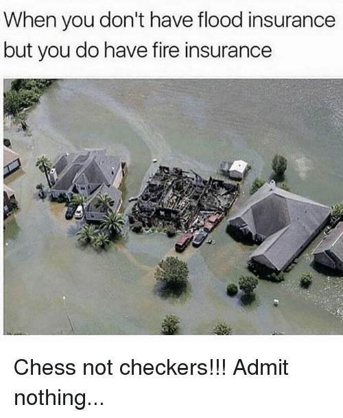 Admittingly: When you don't have flood insurance  but you do have fire insurance  lea Chess not checkers!!! Admit nothing...