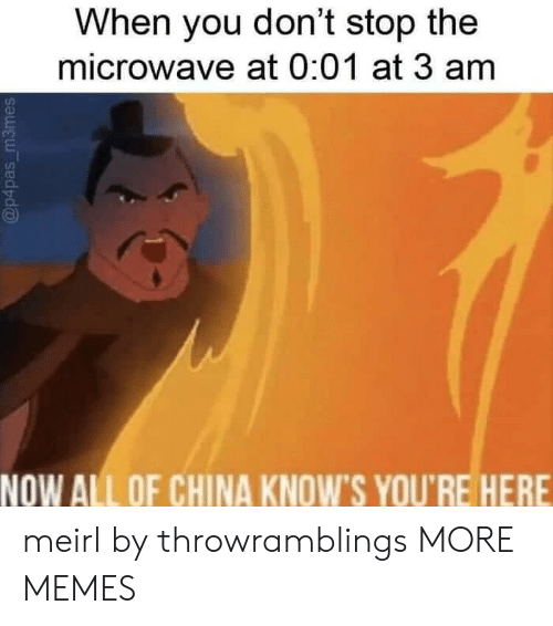 Dank, Memes, and Target: When you don't stop the  microwave at 0:01 at 3 am  NOW ALL OF CHINA KNOW'S YOU'RE HERE meirl by throwramblings MORE MEMES
