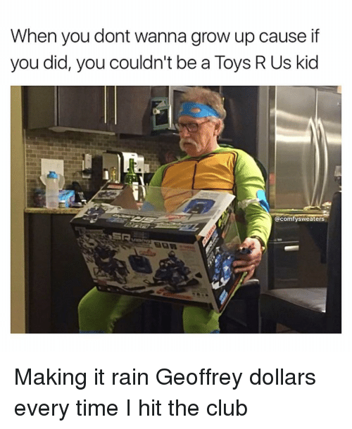 Make It Rain, Memes, and Toys R Us: When you dont wanna grow up cause if  you did, you couldn't be a Toys R Us kid  @comfy sweaters Making it rain Geoffrey dollars every time I hit the club