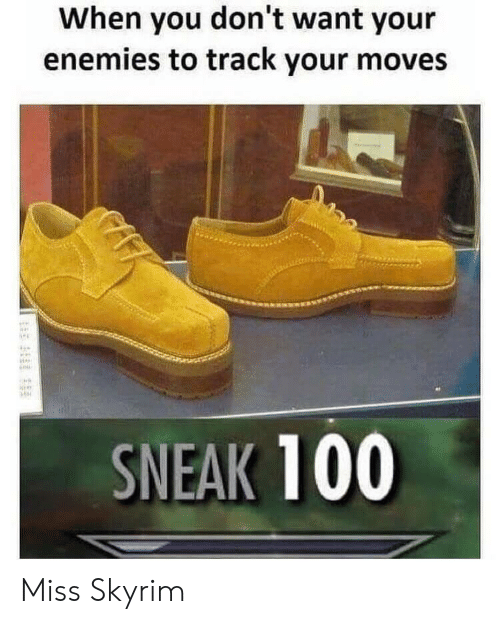 Your Moves: When you don't want your  enemies to track your moves  SNEAK 100 Miss Skyrim