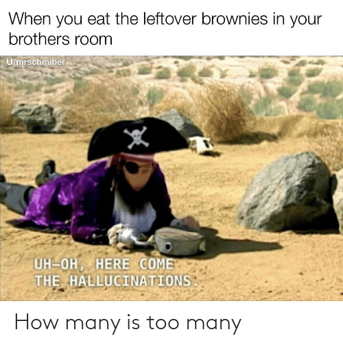 uh oh: When you eat the leftover brownies in your  brothers room  U/mrschmitler  UH-OH, HERE COME  THE HALLUCINATIONS How many is too many