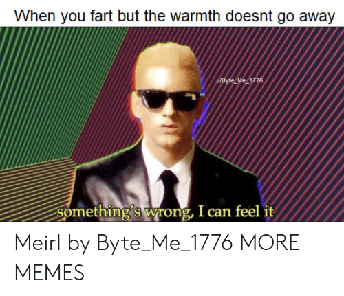 warmth: When you fart but the warmth doesnt go away  UByte Me 1776  Something's wrong, I can feel it Meirl by Byte_Me_1776 MORE MEMES