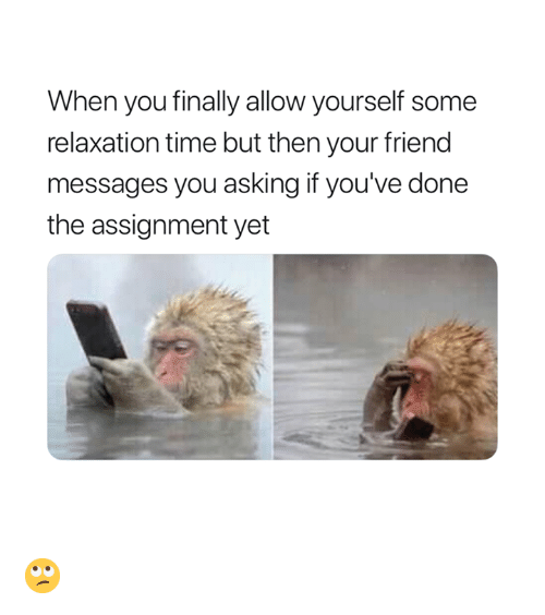 Time, Asking, and Friend: When you finally allow yourself some  relaxation time but then your friend  messages you asking if you've done  the assignment yet 🙄