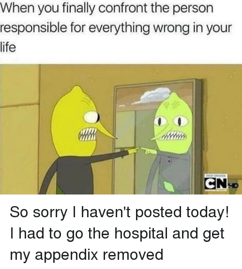 Confrontable: When you finally confront the person  responsible for everything wrong in your  life So sorry I haven't posted today! I had to go the hospital and get my appendix removed