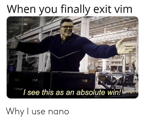 vim: When you finally exit vim  l see this as an absolute win! Why I use nano