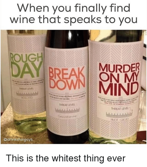 Oug: When you finally find  wine that speaks to you  OUG  BREAK MURDER  MND.  HEAT LEVL  Tr EAT LEVEL :  @drinksforgays This is the whitest thing ever
