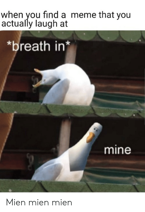 Meme, Mine, and You: when you find a meme that you  actually laugh at  breath in*  mine Mien mien mien