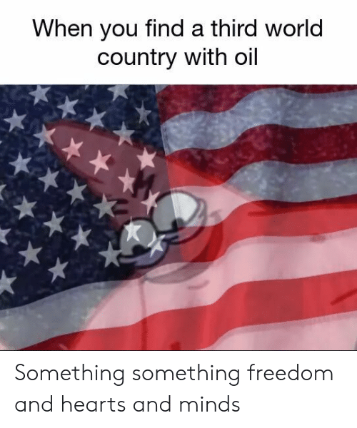 third world: When you find a third world  country with oil Something something freedom and hearts and minds