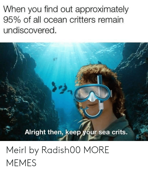 Remain: When you find out approximately  95% of all ocean critters remain  undiscovered.  Alright then, keep your sea crits. Meirl by Radish00 MORE MEMES