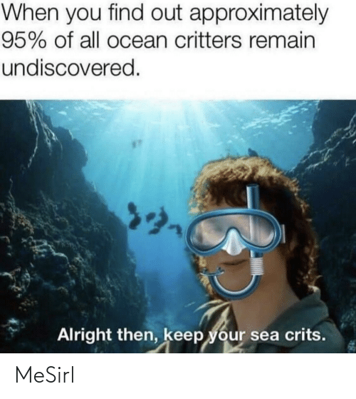 Ocean, Irl, and Alright: When you find out approximately  95% of all ocean critters remain  undiscovered.  Alright then, keep your sea crits. MeSirl