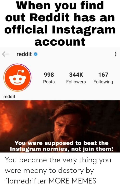 normies: When you find  out Reddit has an  official Instagram  account  reddit  998  344K  167  Following  Followers  Posts  reddit  You were supposed to beat the  Instagram normies, not join them! You became the very thing you were meany to destory by flamedrifter MORE MEMES