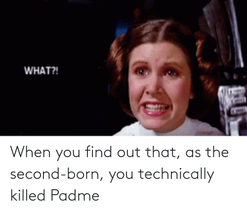 When You Find Out: When you find out that, as the second-born, you technically killed Padme