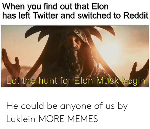 Begin: When you find out that Elon  has left Twitter and switched to Reddit  Let the hunt for Elon Musk begin He could be anyone of us by Luklein MORE MEMES