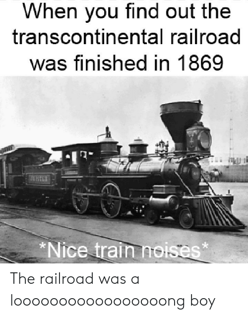 Reddit, Train, and Nice: When you find out the  transcontinental railroad  was finished in 1869  *Nice train noises The railroad was a looooooooooooooooong boy
