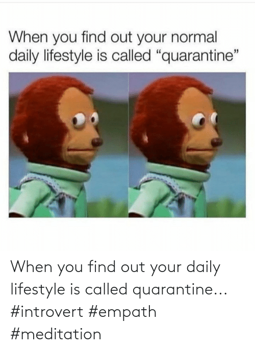 When You Find Out: When you find out your daily lifestyle is called quarantine... #introvert #empath #meditation