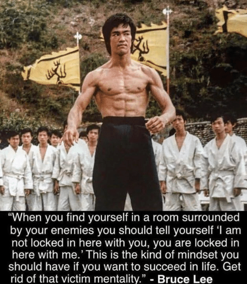 """Life, Memes, and Bruce Lee: """"When you find yourself in a room surrounded  by your enemies you should tell yourself 'l am  not locked in here with you, you are locked in  here with me.' This is the kind of mindset you  should have if you want to succeed in life. Get  rid of that victim mentality."""" - Bruce Lee"""