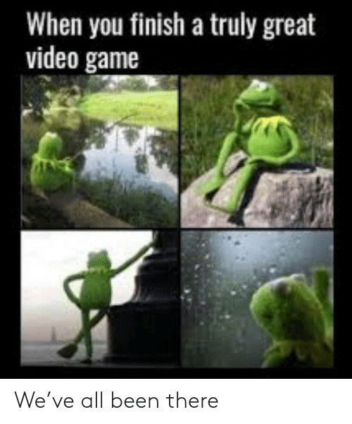 Game, Video, and Been: When you finish a truly great  video game We've all been there