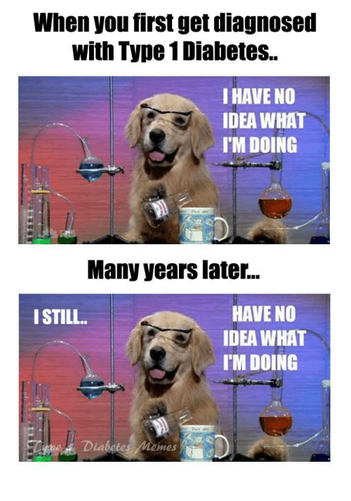 Many Years Later: When you first get diagnosed  with Type 1 Diabetes..  I HAVE NO  IDEA WHAT  I'M DOING  Many years later...  HAVE NO  IDEA WHAT  I'M DOING  ISTILL  Diabetes Memes