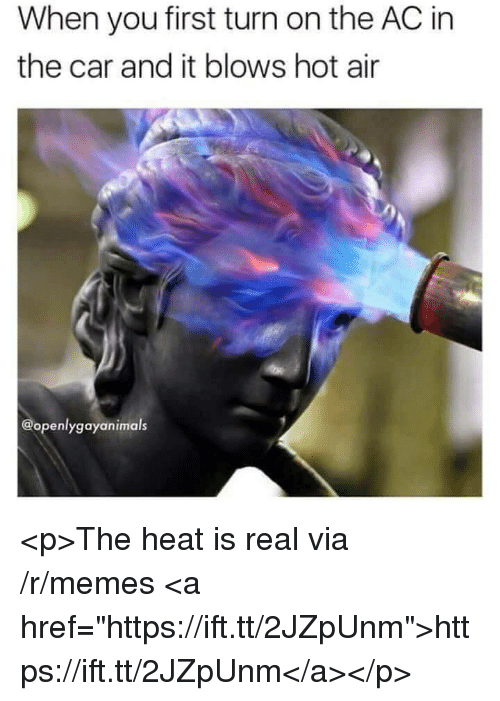 "Memes, Heat, and Hot Air: When you first turn on the AC in  the car and it blows hot air  @openlygayanimals <p>The heat is real via /r/memes <a href=""https://ift.tt/2JZpUnm"">https://ift.tt/2JZpUnm</a></p>"