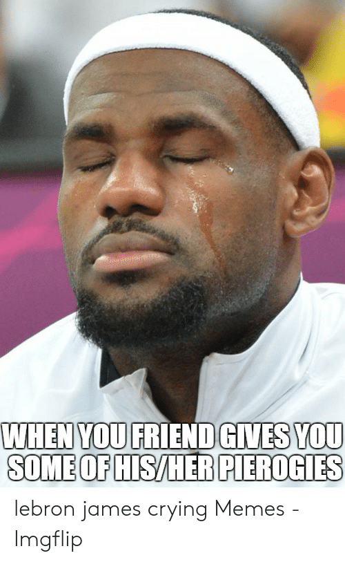 lebron james meme: WHEN YOU FRIEND GIVES YOU  SOME OF HIS/HER PIEROGIES lebron james crying Memes - Imgflip