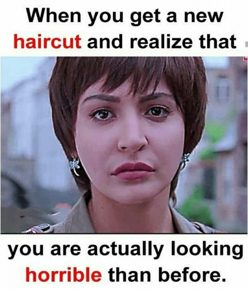 Haircut, Memes, and 🤖: When you get a new haircut and realize that