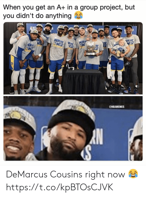 DeMarcus Cousins: When you get an A+ in a group project, but  you didn't do anything  ONTIE  @NBAMEMES DeMarcus Cousins right now 😂 https://t.co/kpBTOsCJVK