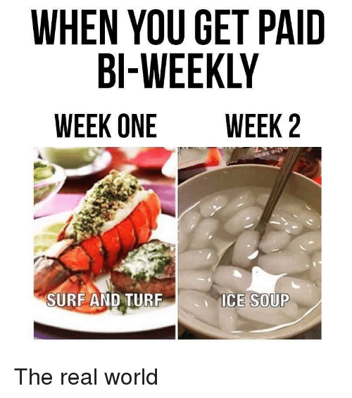 surf: WHEN YOU GET PAID  BI-WEEKLY  WEEK ONE WEEK 2  SURF AND TUR  ICE SOUP The real world