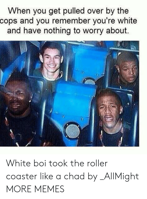 Dank, Memes, and Target: When you get pulled over by the  cops and you remember you're white  and have nothing to worry about. White boi took the roller coaster like a chad by _AllMight MORE MEMES