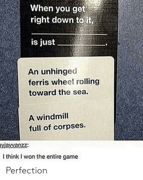 corpses: When you get  right down to it,  is just  An unhinged  ferris wheel rolling  toward the sea.  A windmill  full of corpses.  yjayvanzz:  I think I won the entire game Perfection