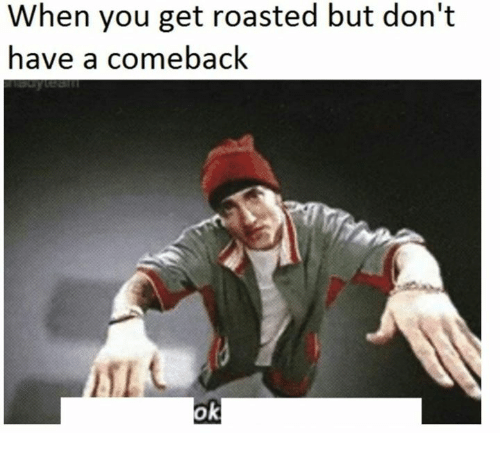 You Get Roasted: When you get roasted but don't  have a comeback  ok