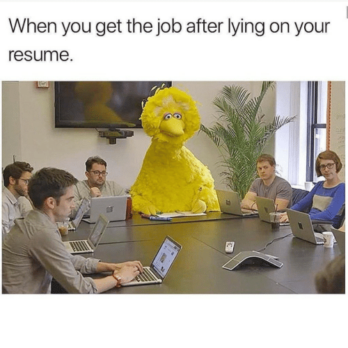 Resume: When you get the job after lying on your  resume.