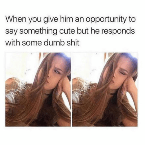 dumb shit: When you give him an opportunity to  say something cute but he responds  with some dumb shit