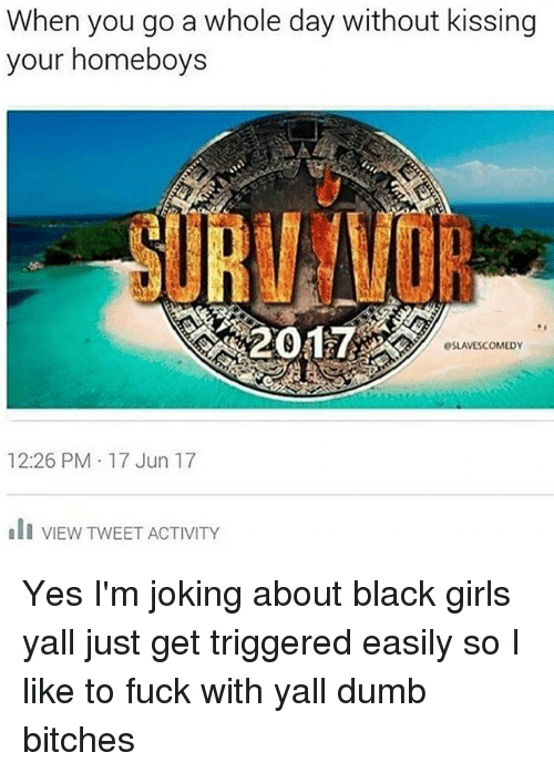 dumb bitches: When you go a whole day without kissing  your homeboys  esLANESCOMEDY  12:26 PM 17 Jun 17  ali VIEW TWEET ACTIVITY Yes I'm joking about black girls yall just get triggered easily so I like to fuck with yall dumb bitches
