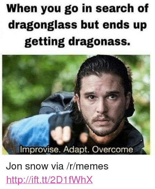 "Memes, Jon Snow, and Http: When you go in search of  dragonglass but ends up  getting dragonass.  Improvise. Adapt. Overcome <p>Jon snow via /r/memes <a href=""http://ift.tt/2D1fWhX"">http://ift.tt/2D1fWhX</a></p>"