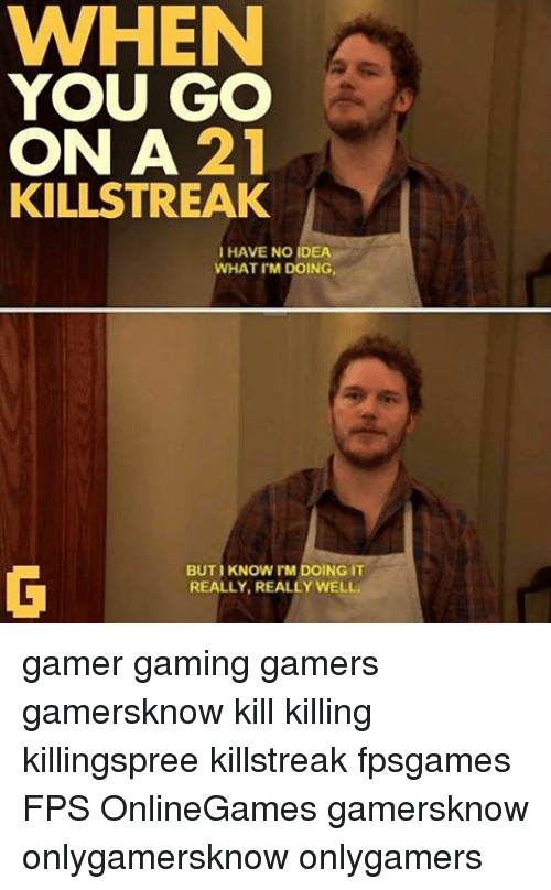 Gamerly: WHEN  YOU GO  ON A  21  KILLSTREAK  I HAVE NO IDEA  WHAT I'M DOING,  BUTI KNOW I'M DOING IT  REALLY, REALLY WELL. gamer gaming gamers gamersknow kill killing killingspree killstreak fpsgames FPS OnlineGames gamersknow onlygamersknow onlygamers