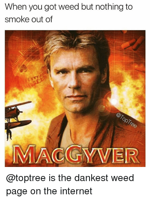 MacGyver: When you got weed but nothing to  smoke out of  MACGYVER @toptree is the dankest weed page on the internet